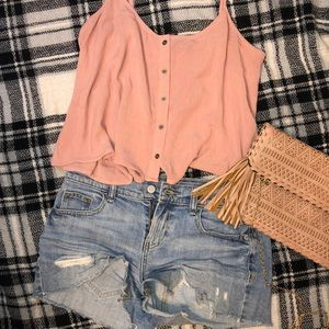 Pink/mauve crop top